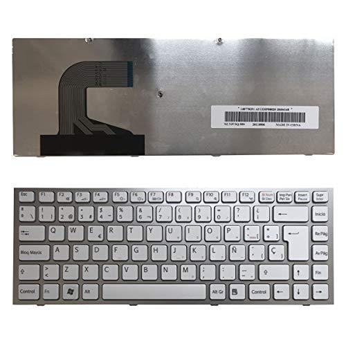 Nerd Herd Sony Vaio VPC-S123FGB VPC-S125EC VPC-S128EC VPC-S129FJB VPC-S129FJS VPC-S129GC VPC-S12AFJ Silber Rahmen Weiß Spanisch kompatible Ersatz Tastatur - Weiß Sony Laptop Vaio