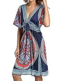 50af79fb73 Women's Beach Wraps and Cover ups Ladies V-Neck Bohemia Beach Sundress  Tunic Kaftan Casual