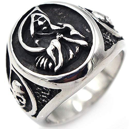 Daeou Ringe für Damen Europäische Retro Männer Reaper Sichel Titan Stahlring