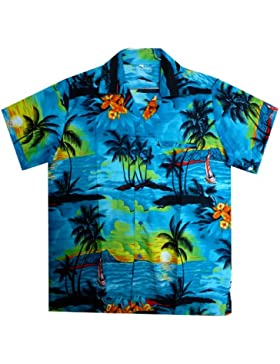 Original King Kameha | Funky Hawaiihemd | Herren | XS - 12XL | Kurzarm | Front-Tasche | Hawaii-Print | Surf Palmen...