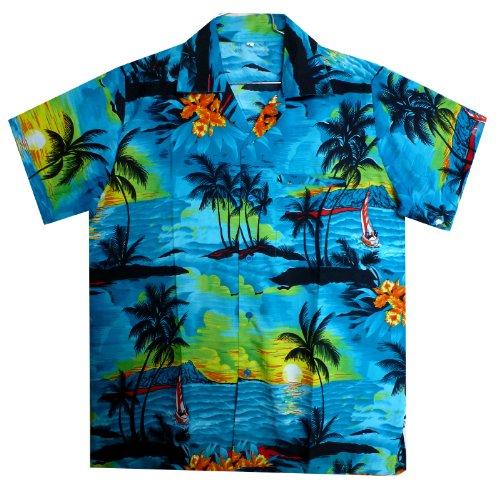 Original-King-kameha-Funky-Hawaii-Camisa-Hombre-XS-12-x-l-manga-corta-frontal-de-funda-Hawaii-de-Print-Surf-Palmeras-turquesa-turquesa-L