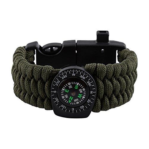 Imagen de pulsera de raspador + brújula + silbato + paracord + termómetro nylon multifuncional de supervivencia para caza de campamento aire libre aventura verde militar