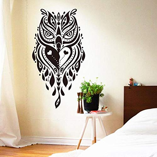 YuanMinglu Art Design Home Decor Vinile Cool Creative Owl Wall Sticker Staccabile Nero 31 cm x 58 cm