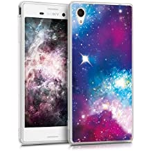 kwmobile Funda para Sony Xperia M4 Aqua - Case para móvil en TPU silicona - Cover trasero Diseño universo en multicolor rosa fucsia negro