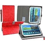 Emartbuy Wolder miTab Pro + 10.1 Pulgadas HD Tablet PC Universal ( 10 - 11 Pulgadas ) Retro Estilo Vendimia Floral Rojo Ángulo Múltiples Ejecutivo Folio Funda Con Ranuras Para Tarjetas+ Lápiz Óptico