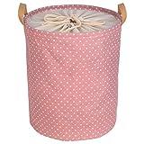 ZMLSXU Große Wäschekorb Große Kapazität Aufbewahrungstasche Brawstring Wasserdichte Runde Baumwolle Leinen Klappspeicher Korb Rosa