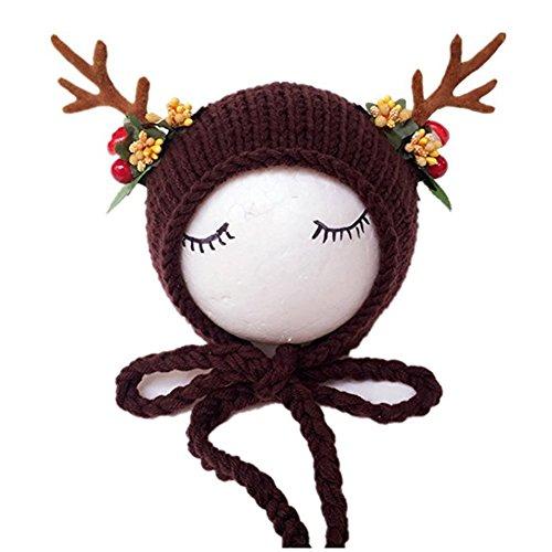 Neugeborene Baby Fotografie Requisiten Boy Girl Crochet Kostüm Outfits Cute Weihnachten Deer (Girl Kostüme Und Cute Boy)