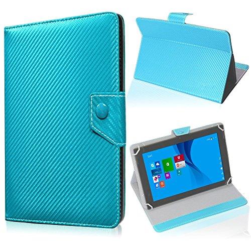 UC-Express Tablet Tasche für Blaupunkt Endeavour 101M Hülle Schutzhülle Carbon Case Cover, Farben:Türkis