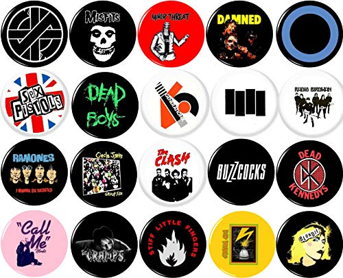 Punk Button Pin Set von 20 2,5 cm Zoll (25 mm) Blondie Ramones Clash Misfits Damned Keime Sex Pistols -