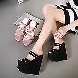 GTVERNH-Damen/Women'S/Pumps/Heels Im Sommer 17Cm High Heels Sandalen Hausschuhe Muffin Sexy Dicken Sohlen Keile Frauen Sandalen Und Slipper,38,Pink