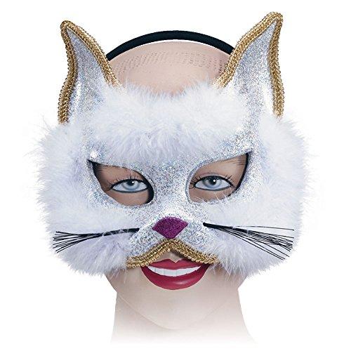 Bristol Novelty em188Glitzer Katze Maske auf Stirnband, Weiß, One - Anspruchsvolle Katze Kostüm