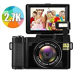 Appareil Photo Numérique Appareille Photo Full HD 2.7K 24MP Vlogging Caméscope Mini Appareil Photo Numérique avec Flash Rétractable
