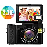 Digitalkamera Kompaktkamera Full HD 2.7K 24 MP Videokamera Vlogging-Kamera, Fotoapparat Digitalkamera mit Ausziehbarem Blitzlicht