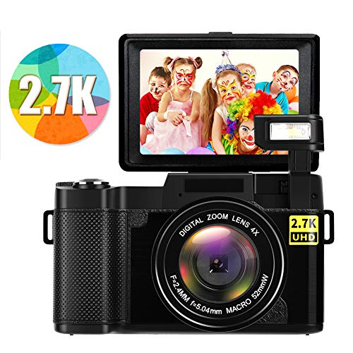Digital Camera Vlogging Camera Full HD 2.7K 24MP Video Camcorders Compact Cameras with Retractable Flash Light