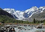 Fototapete Morteratsch Gletscher Alpen XL 350 x 245 cm - 7 Teile Vlies Tapete Wandtapete - Moderne Vliestapete - Wandbilder - Design Wanddeko - Wand Dekoration wandmotiv24