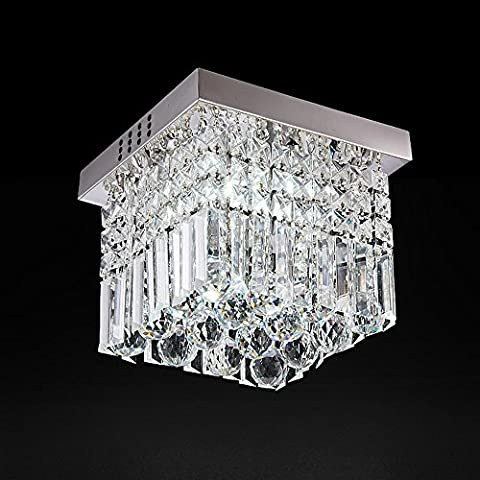 Modern Fashion Romantic Square Clear Crystal Pendant Ceiling Light Chandelier Lamp Stainless Steel Fixture L25cm W25cm H26cm