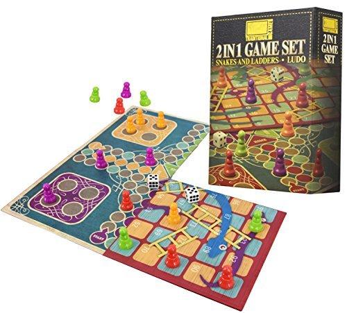 2 in 1 traditionelles Brettspiel-Set - Snakes & Ladders und Ludo doppelseitiges Klappbrett - Snakes Ladders