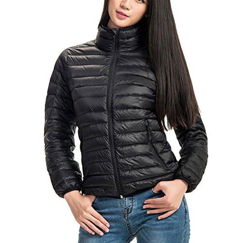 VLUNT dames doudoune veste manteau d'hiver manteau de duvet veste matelassée veste en duvet manteau parka paragraphe court Black