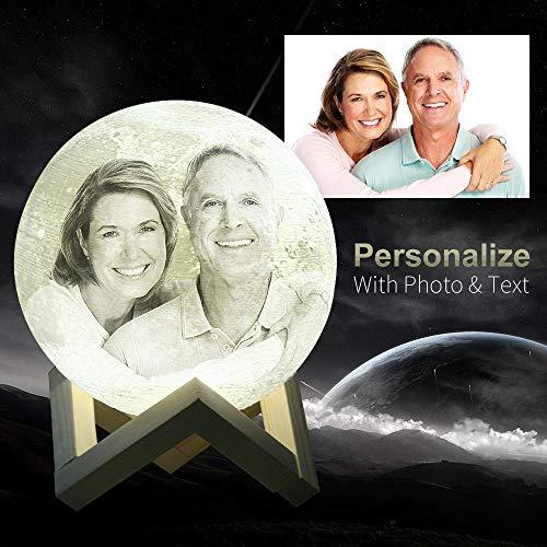 Imagen para Foto personalizada lampara luna - impresión 3D Luna luz USB carga luna lámpara de noche para regalar