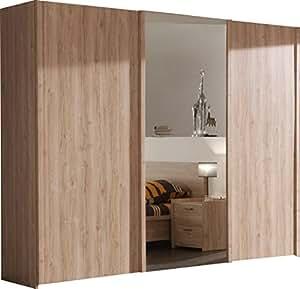 armoire chambre porte coulissante avec miroir bois design. Black Bedroom Furniture Sets. Home Design Ideas