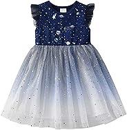 VIKITA Vestito Cotone Stampa Principessa Tulle Tutu Festa di Compleanno Abito Bambina
