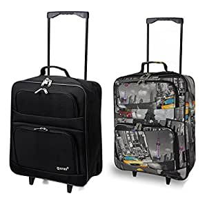 Set of 2 Cabin Approved Lightweight Folding Ryanair/Easyjet Hand Luggage Trolley Suitcase Carry On Bags (Black + Cities 55CM)
