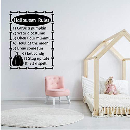 GAOCHUNYU 56 CM x 73,6 CM Halloween Regeln Worte Buchstaben Herbst Halloween Decor Art PVC Wandaufkleber
