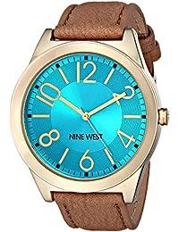 Nine West para mujer NW/1660tqcm esfera de color turquesa marrón correa de cuero reloj