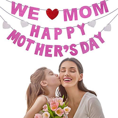 (Happy Mother's Day Banner und We Love Mom Banner Girlande für Muttertag Dekorationen Foto Prop Foto Booth Hintergrund (Stil A))