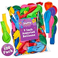 jaunty partyware 100 Premium Quality Balloons 215g Assorted Colour Latex Balloons   Ideal for Party Bag Fillers   FREE Ebook