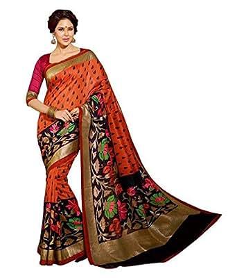 Winza Designer Cotton Saree with Blouse Piece (1133 silk partywear design sari girls_Multicolor_Free Size)