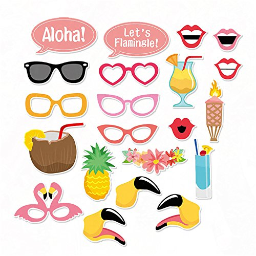 cke Flamingo Tropical Sommer Party Photo Booth Props Dekorationen Geschenke Kit DIY Photo Booth für Geburtstag Party Hochzeit Halloween Weihnachten Neujahr ()