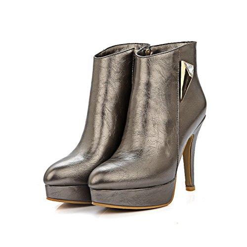 Voguezone009 Femme Chaussures Pointu Toe Haut Talon Luccichio Bottes Hauteur Basse Avec Métal Or