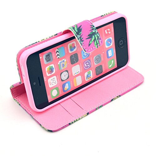MOONCASE iPhone 5C Case Motif Conception Coque en Cuir Portefeuille Housse de Protection Étui à rabat Case pour iPhone 5C P02