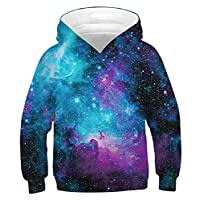 Graphic Printed Hooded Hoodies for Kids Boys 8t 9t 10t Nebula Sky Pattern Pockets Pullover Sweatshirt Clothing 8-11 Years