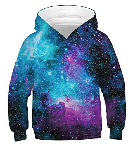 Idgreatim Jungen Mädchen Pullover Hoodie 3D Galaxy Universum Sweatshirts Langarm Neuheit Teen Kapuzenpullover M