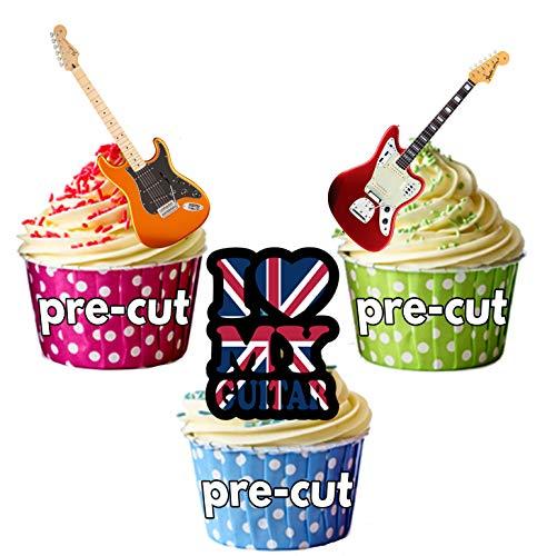 Love Gitarren/E-Gitarren-essbar Stand-up Cupcake Topper (Pack von 12) (Topper Rockstar Cake)