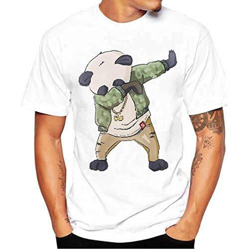 URSING_Herren Shirt Kurzarmshirt Sommer Top Casual Slim Fit Bluse Basic Rundhals Freizeit Hemden Oversize Shirt Oberteile Coole Streetwear Sportlich Sommer Tops & Shirts (S, Weiß_B) (Authentische Crew Tee)