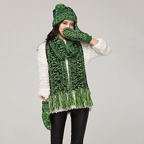 au Winter Schal Deckel Handschuhe Hut Warm 3-teiliges Set Gestrickt Tourismus Ski Outdoor-Sportarten, 11 Farben Erhältlich ( Farbe : Black green ) (Green Elf-hut)