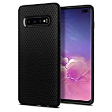 Spigen [Liquid Air] Galaxy S10+ Plus Case Cover with Slim Enhanced Grip and Shockproof Protection Designed for Galaxy S10 Plus (2019) - Matte Black