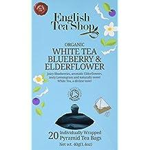 English Tea Shop Organic White Tea Blueberry and Elderflower - 20 Pyramid Tea bag Sachets