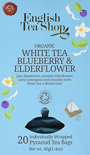English Tea Shop Organic White Tea Blueberry and Elderflower - 20 Pyramid Tea bag Sachets