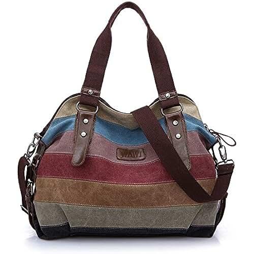 ofertas para el dia de la madre WAWJ la lona Hobos de los Multicolor totalizadores del bolso de las mujeres bolsos de hombro