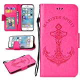 BONROY Ersatz iPhone 6 Plus/6S Plus Leder Hülle,Flip Wallet Case Cover Ersatz iPhone 6 Plus/6S Plus [Kartensteckplätze] [Stand Feature] [Magnetic Closure Snap]-Meerjungfrau Anker Rose