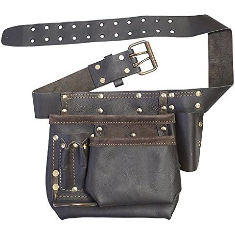 SPARES2GO con piel curtida al aceite bolsillo multiuso de clavos soporte incorporado y DIY cinturón
