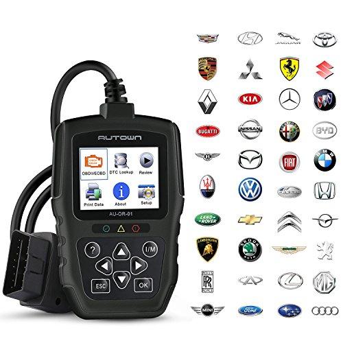 AUTOWN OBD2 Diagnosegerät, Auto KFZ OBDII/EOBD Diagnose Scanner zum Lesen und Löschen Motor Fehlercodes für Fahrzeug ab 2004 und spater europaisches und asiatisches OBD2 Protokoll, Schwarz