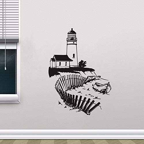 Leuchtturm Wandbild Meer Strand Wand Vinyl Aufkleber Nautischen Innenausbau Abnehmbare Badezimmer Marine Wandaufkleber 57 * 79 cm (Volvo Marine Teile)