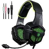 SADES SA-807 Gaming Headset Wired Over-Ear-Kopfhörer Mit Mic Plattformübergreifende Kompatibilität Für Neu Xbox one/ PS4/PC /Laptop /Mac /iPad /Smartphones (Stereo Sound, Schwarz&Grün )