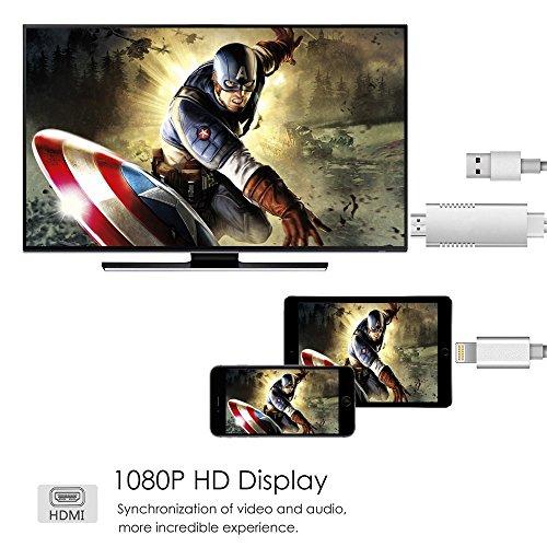 Cable adaptador Lightning to HDMI,  adaptador de convertidor AV digital a HDMI 1080P para iPhone serie X / 8/7/6/5,  iPad Air / Mini / Pro (Plug and Play 2018 Newest)