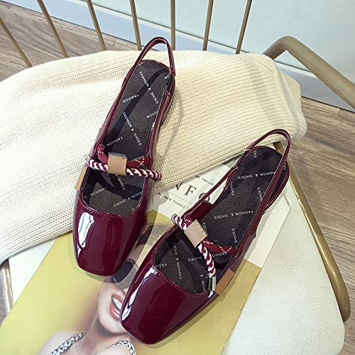 Uhrtimee Sandalen Female Fairy Wind 2019 Sommer Neu Baotou Dick Mit Mary Jane Schuhe Koreanische Version des Wild Sandals, 39, Weinrot Elastic-strap Mary Janes